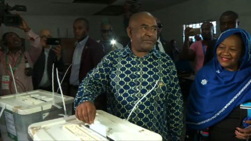 Comoros leader Azali casts his vote in presidential poll
