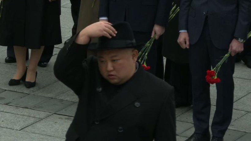 Kim Jong Un attends wreath-laying ceremony in Russia
