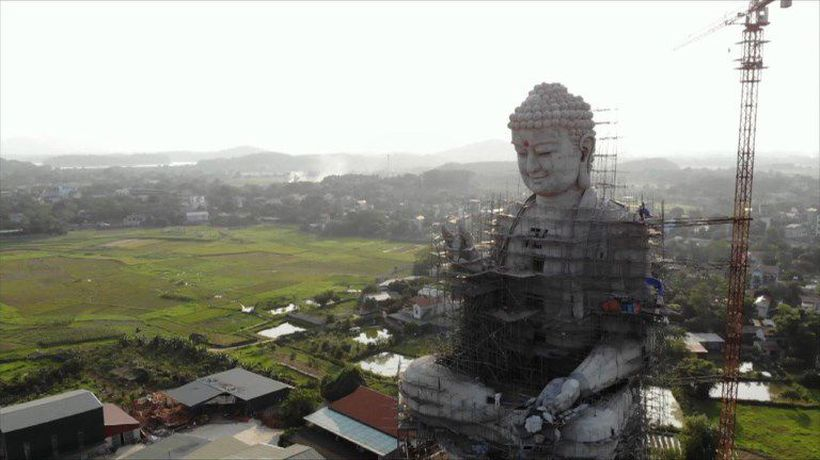 Hundreds gather at giant Buddha statue in Vietnam for Vesak day