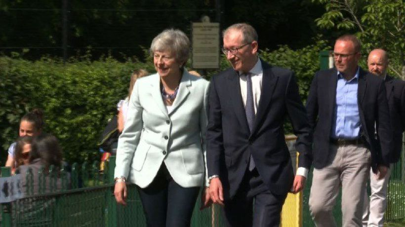British Prime Minister May arrives to cast vote in EU polls