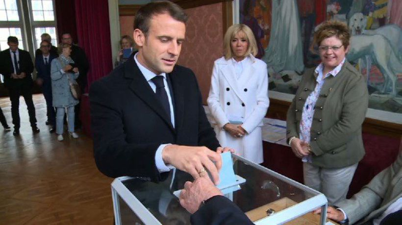 French president Macron casts European elections vote