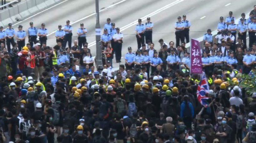 Morning protest after massive Hong Kong rally
