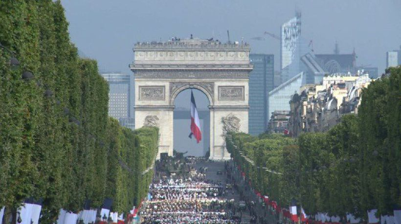 Images before the beginning of Bastille Day military parade