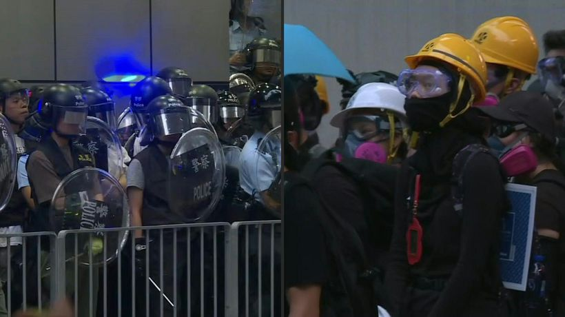 Protesters and police stand off in Hong Kong's Mongkok district