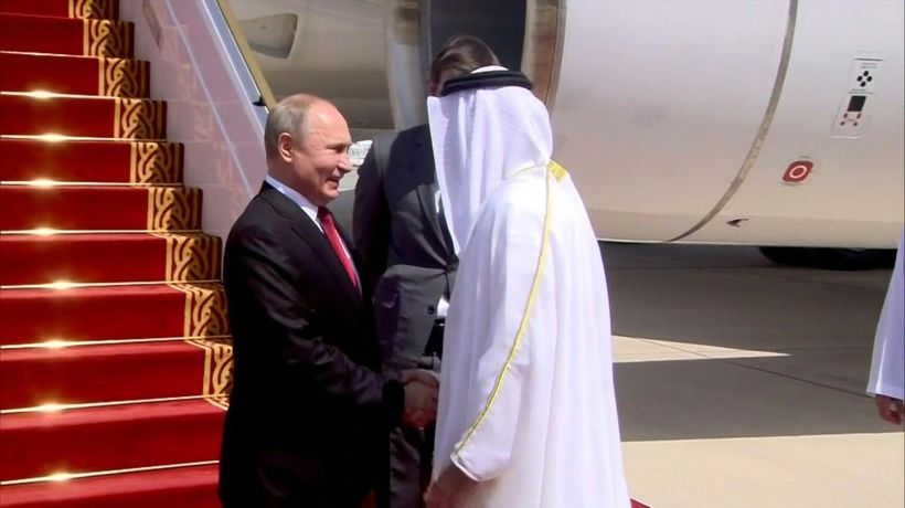 Russian President Vladimir Putin arrives in Abu Dhabi