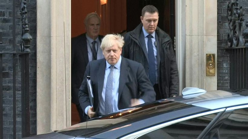 British Prime minister Boris Johnson leaves Downing Street