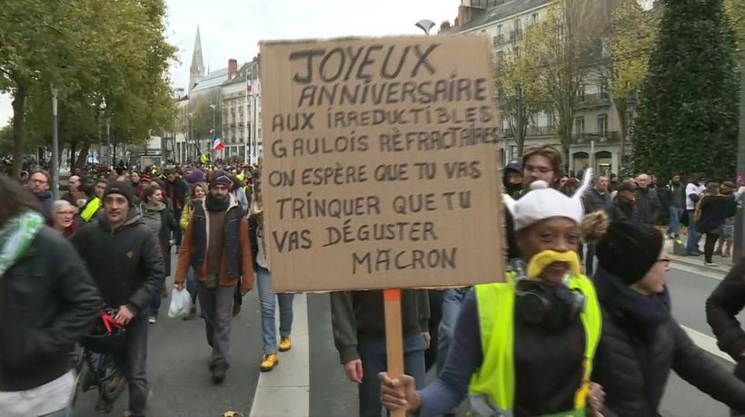 "Nantes ""Yellow vest"" protesters mark anniversary"