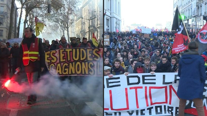 Thousands march in Lyon against French pensions reform