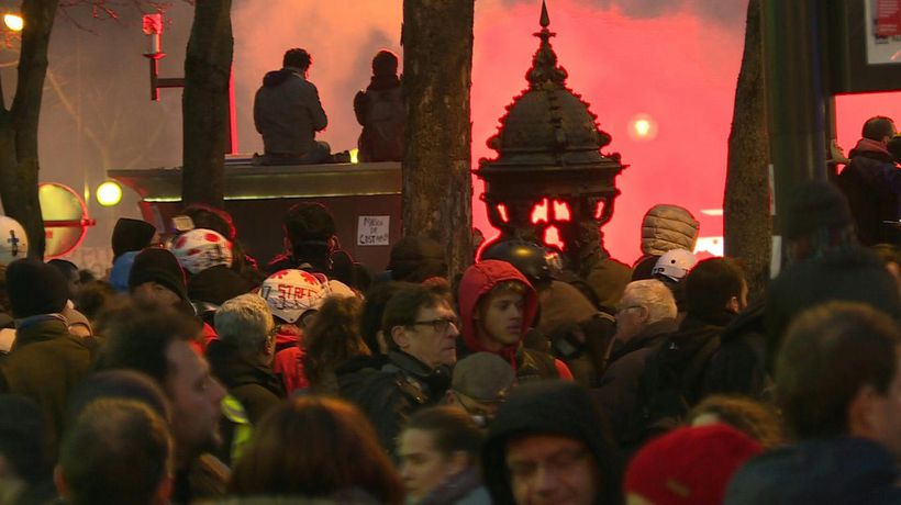 Paris protest against pension reform ends as night falls