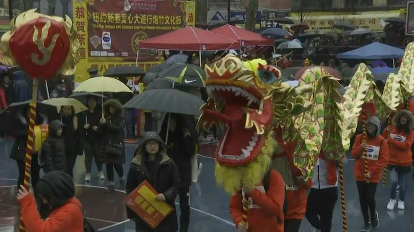 New York marks Chinese New Year with lion dance and firecrackers
