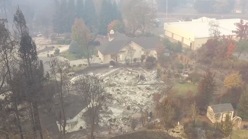 Drone video shows destruction from NorCal wildfire