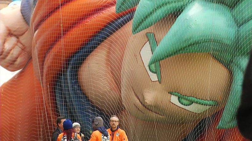 Balloons inflated for NY Thanksgiving Parade