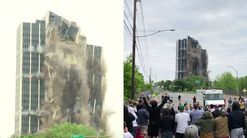 Defunct steelmaker's 21-story HQ imploded