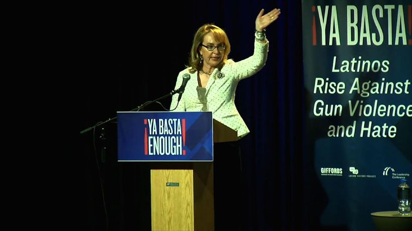 Gabby Giffords speaks to Texas town hall on guns