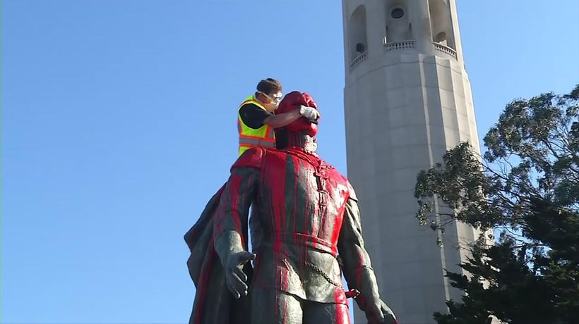 Columbus statue vandalized in San Francisco