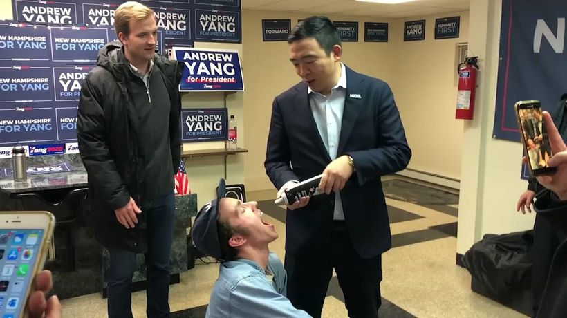 Yang sprays supporters with whipped cream