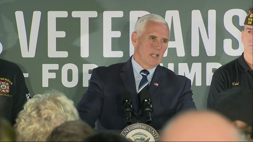 Pence talks jobs, Dems, USMCA at veterans event