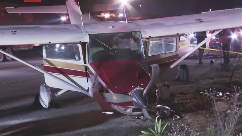 No injuries as small plane lands on Calif. freeway