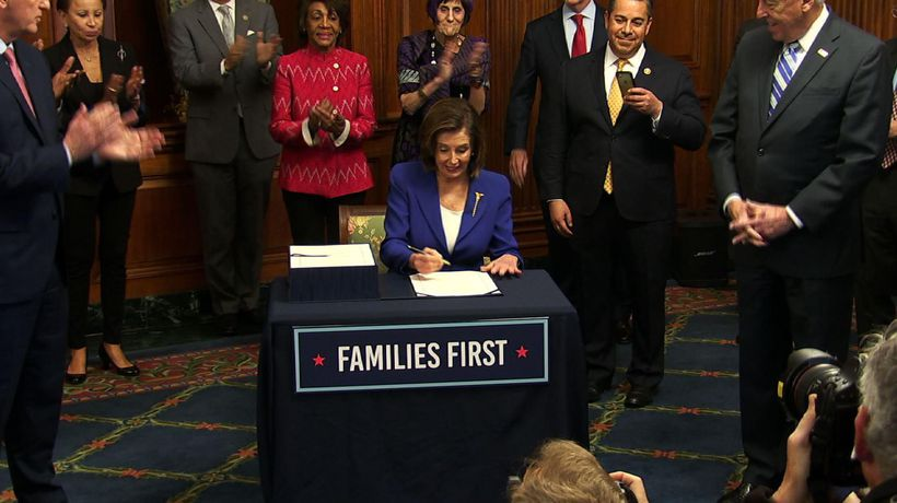 Pelosi inks $2.2T rescue package at House ceremony