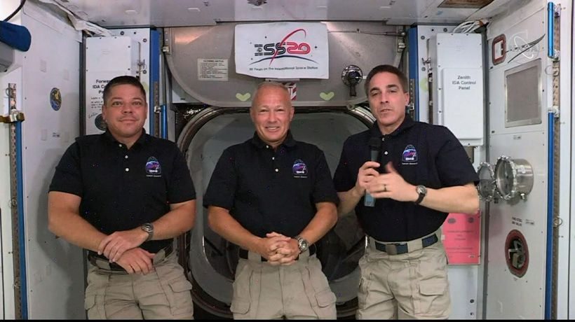 Astronauts speak from International Space Station