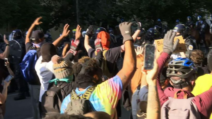 Protesters near White House dispersed with tear gas