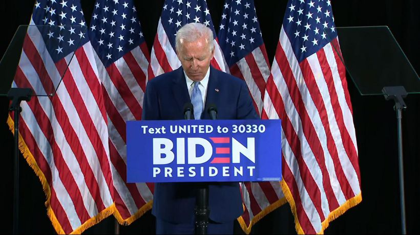 Biden slams Trump on economy, Floyd remarks