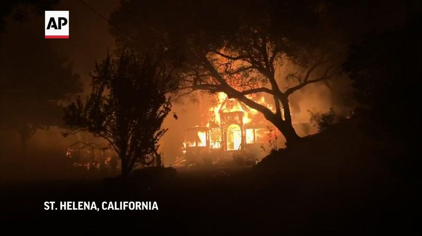 Wildfires rage in Napa Valley wine region