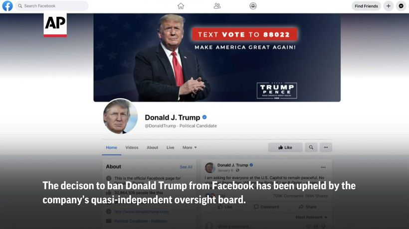 Facebook board upholds Trump ban for now