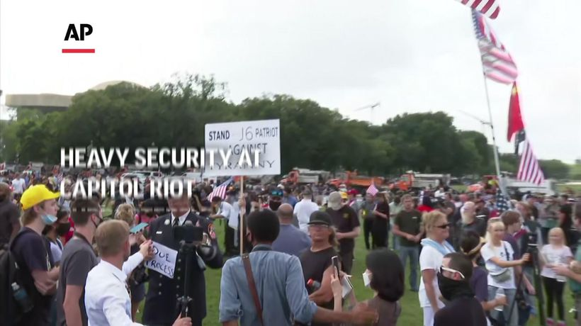 Heavy security at Capitol riot supporters' rally