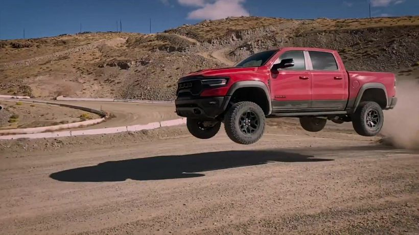 2021 Ram 1500 TRX in Flame Red Off-roading