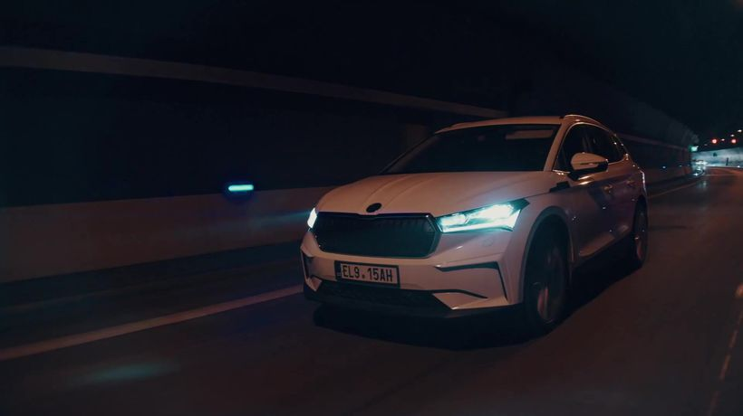 The new SKODA ENYAQ iV Driving in the city