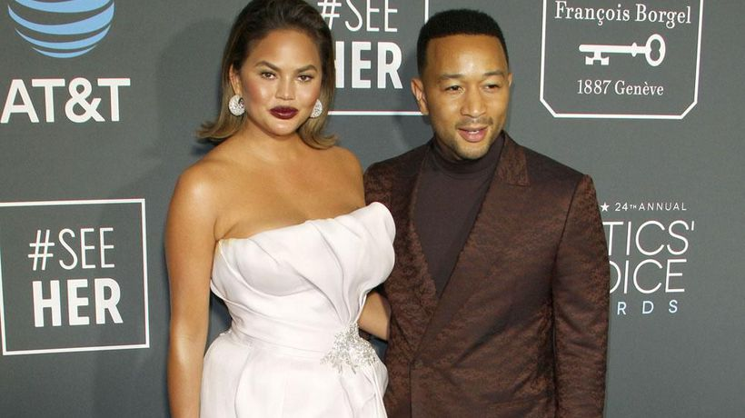 Chrissy Teigen and John Legend swap beauty products