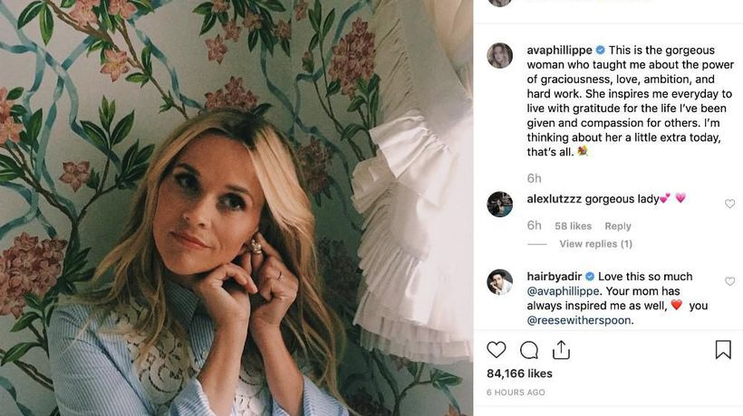 Reese Witherspoon's daughter Ava finds her inspiring