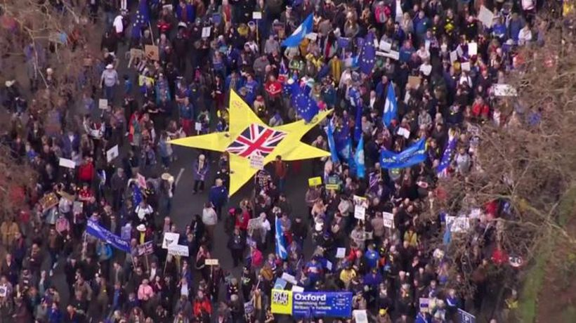 People's Vote march to Westminster - sped-up