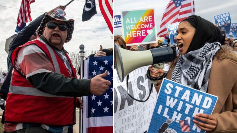 Rival rallies for Trump and Omar