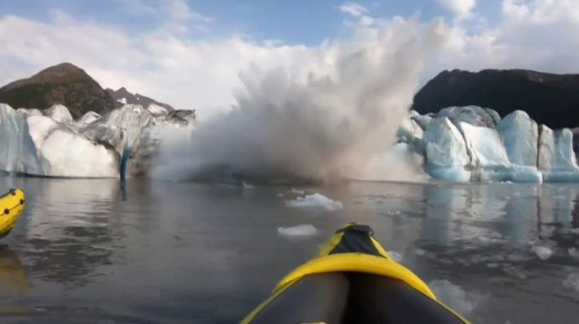 'We survived!' Collapsing glacier soaks kayakers