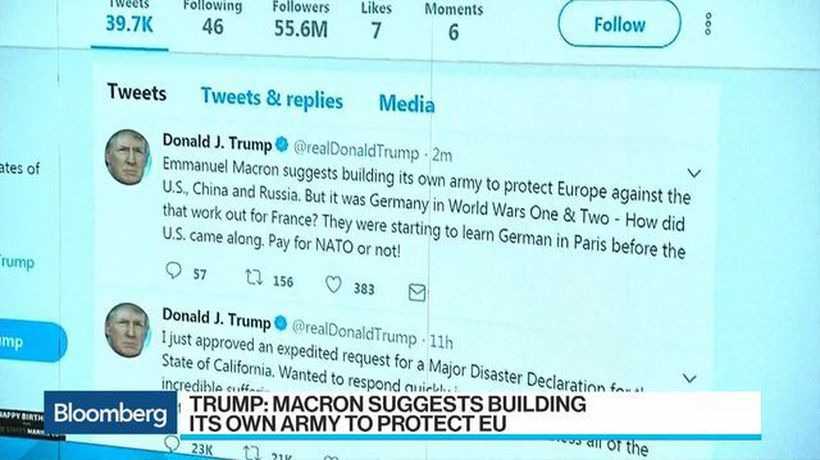 Bloomberg Surveillance - Trump Mocks Macron, France: 'Pay for NATO or Not'
