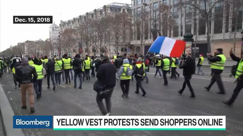 Bloomberg Technology - Yellow Vest Protests in France Send Shoppers Online