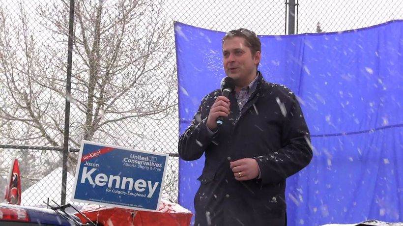 Andrew Scheer joins Jason Kenney at an election rally
