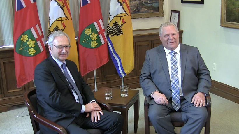 Ontario Premier Doug Ford meets with New Brunswick Premier Blaine Higgs at Queen's Park