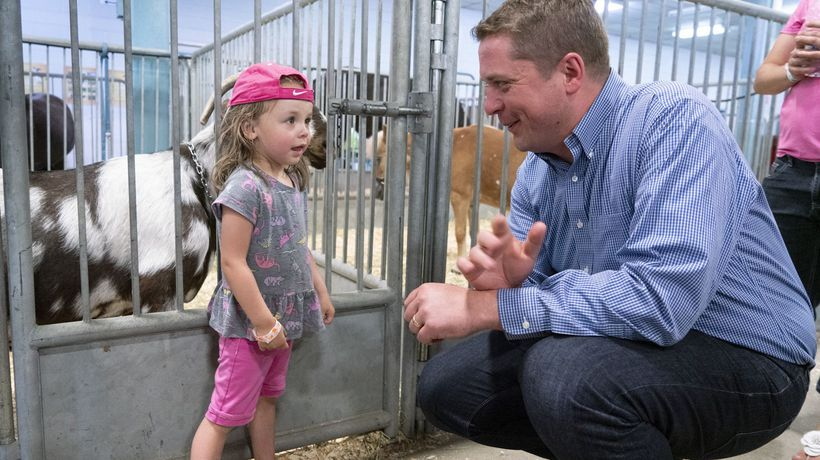 Tory Leader Andrew Scheer visits agricultural fair in battleground riding south of Montreal
