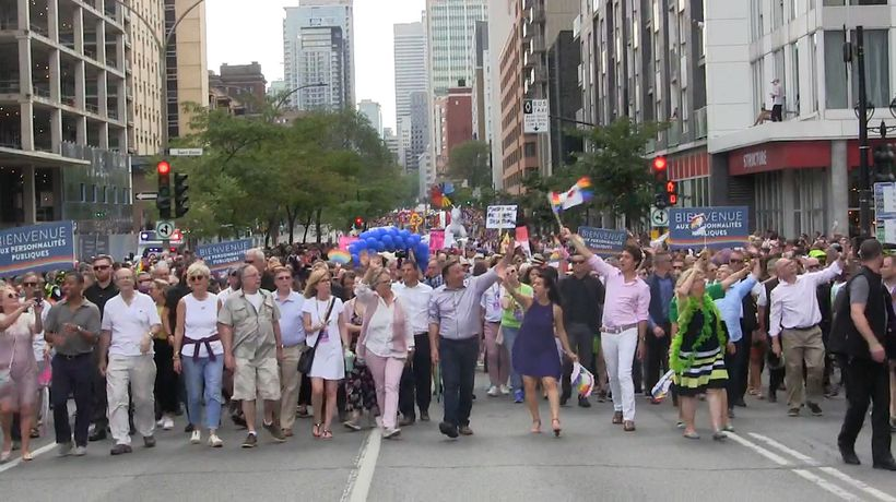 Federal leaders walk in Montreal's pride parade