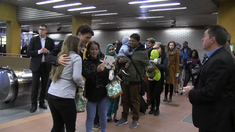 Trudeau thanks morning commuters in his Montreal riding after election victory