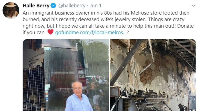 Halle Berry encouraging donations for elderly widower's destroyed store