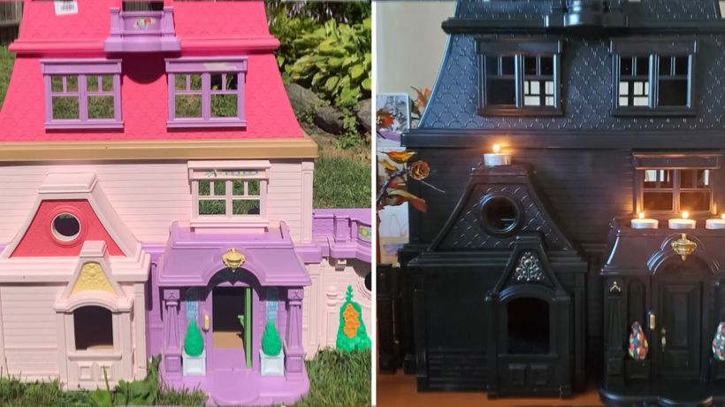 Woman Upcycles Thrifted Plastic Dollhouses Into Elegant Haunted Mansions