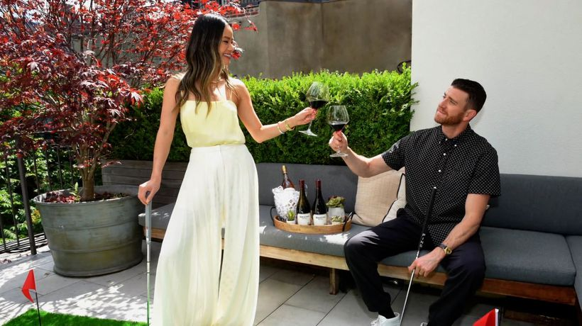 Jamie Chung And Bryan Greenberg Host A Putting Party With Meiomi Wine