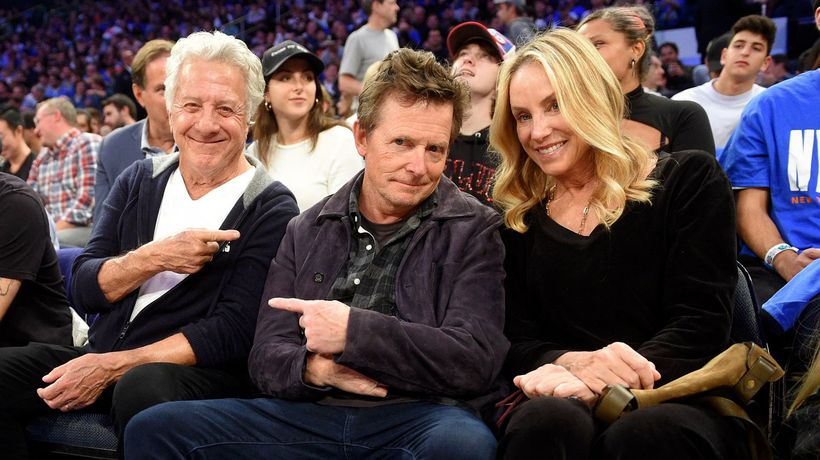 Dustin Hoffman, Michael J. Fox and Other Celebrities at the New York Knicks Opening Night