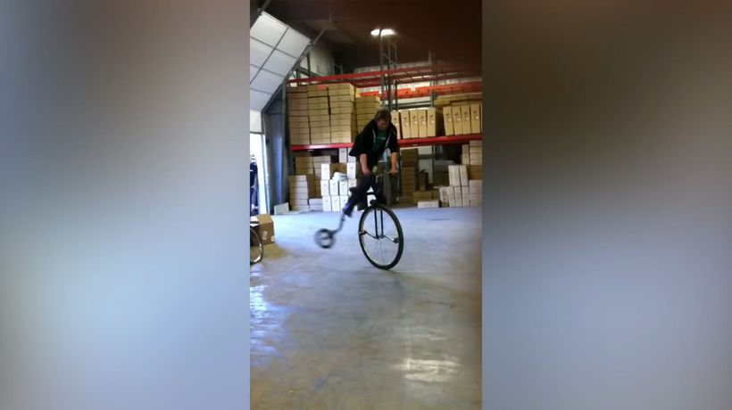 Doing tricks with a vintage bicycle!
