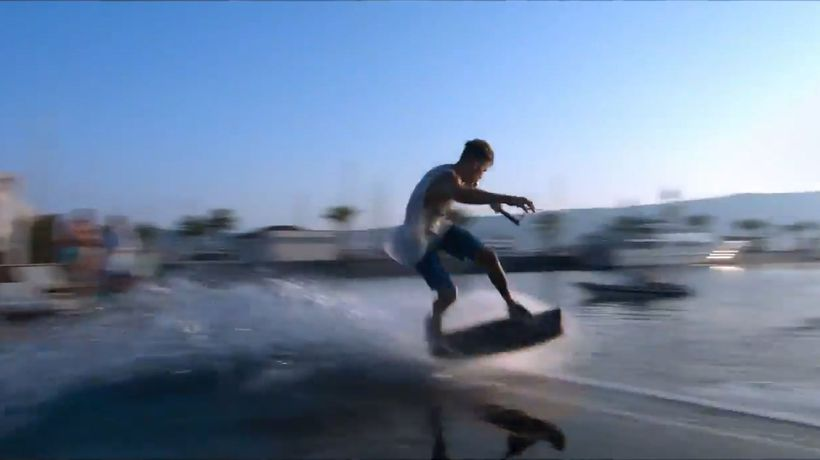 Water Skiing from the pool into sea