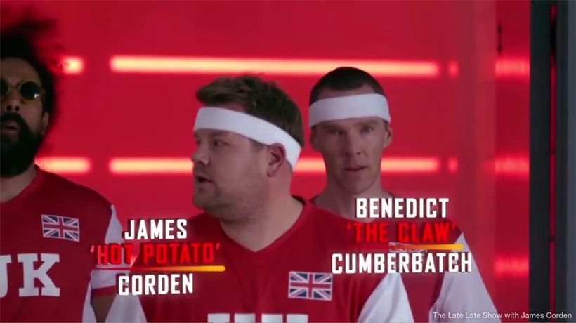 Michelle Obama takes on James Corden in dodgeball match